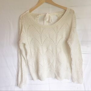 Lauren Conrad tie back keyhole sweater white gold
